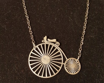 Antique Silver Finish Penny Farthing on Gun Metal Finish Chain, Antique Bicycle, Steampunk