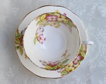 Royal Albert Clematis Tea Cup and Saucer, Avon Shaped Royal Albert Teacup and Saucer, Floral Clematis Cup & Saucer