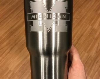 30oz University of Michigan Engraved Stainless Steel Tumbler Thermos Yeti   RTIC Ozark Trail