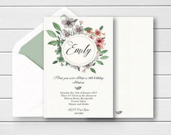 Vintage 30th Birthday Invites, Vintage Birthday Invitations, Floral 30th invites Printable 30th Invites, Vintage Birthday Invites