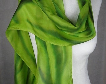 Hand painted silk scarf, lime silk scarf, handpainted,  olive green silk scarf, lime green silk scarf, long green silk scarf, gift for her