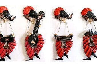 SET of 4 MUSICIAN GANESHA in Red Wall Art Decor hanging, Ganesha, Ganesha Decor, Ganpati