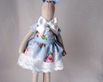 Bunny Tilda Bunny Bunny doll with wooden display stand Blue bunny Handmade Bunny Fabric bunny Rag doll Tilda doll Hare Easter decor