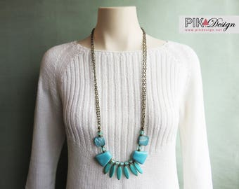 turquoise statement necklace - A perfect long summer bohemian necklace - CO349