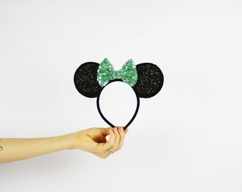 Minnie Mouse Ears Headband with Green Glitter Bow | Disney Girl Gift | Minnie Birthday Party Headband