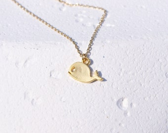 Whale Necklace/ Gold whale necklace Animal necklace/ Christmas gift Sea necklace