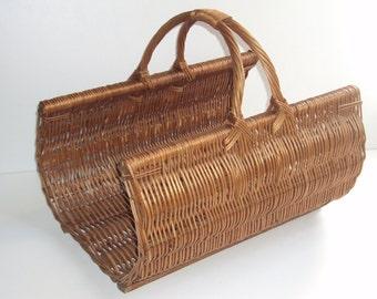 Log braided wicker basket, reinforced with handle, door basket, basket, rattan wood