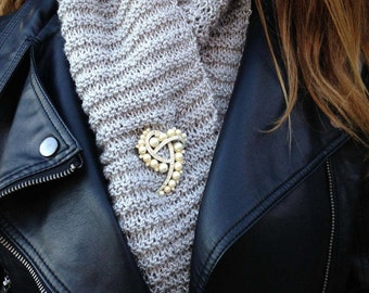 Silver shimmer scarf sold w/ pearl brooch!