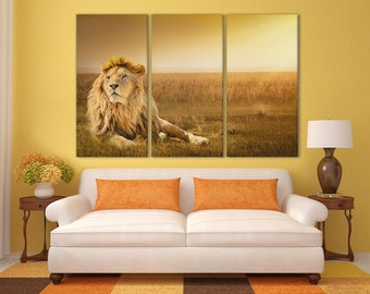 3 pieces Lion Lying on the Grass Leather Print/Multi Panel Print/Wild Animal Print/Extra Large Print/Better than Canvas!