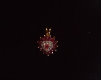 5 Different 10,14 and 18 kt Gold Heart Pendents W/ Sapphires,Rubys, Diamonds.(FREE SHIPPING)58-104 dollars