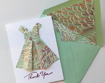 Green & Purple Origami Dress Thank You Card