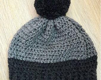 Beanie Hat - Handmade Crochet Two-Tone Pompom - Grey & Charcoal