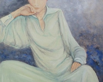 The lady has the Blues - original oil painting 30 x 40 cm framed realistic painter Volker Mayr