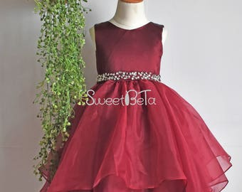 Burgundy girl dress, tea length girl dress, flower girl dress, custom color, wedding party girl dress