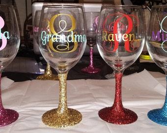 Glitter Monogram Wine Glasses