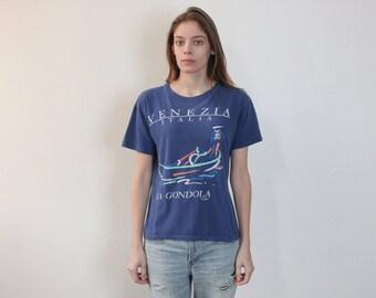 80s T Shirt Venice // Vintage 1980s Italy Tee Shirt Retro Top Travel Gondola - Small