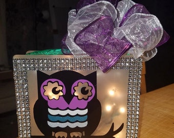 Customized Owl Lighted Glass Bling Block