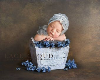 Digital Backdrop Newborn background basket prop blue flowers girls vintage retro garden box Digital Photography prop   / 169