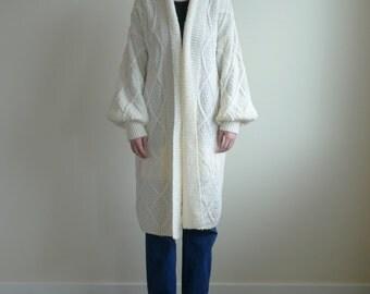 Ivory Oversized Poet Sleeve Knit Coat
