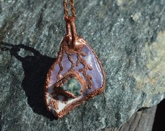 Wampum,Jade Necklace Pendant/Jade Necklace Pendant/Electroformed Jewelry/Raw Organic/Marthas Vineyard Wampum/California Jade