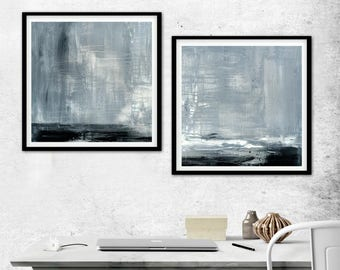 Large Square Print 18x18 XL Set Of Two Digital Download Art Print Gray black and White Modern Diptych Painting Concrete Urban Grunge 2 piece