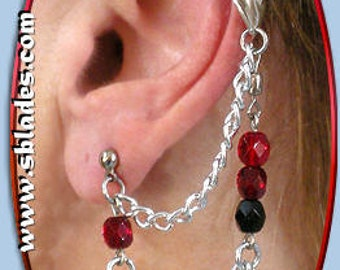 Ice-Flame Bajoran earring, Chainmail ear chains cuff jewelry, Gothic & fairy styles for non-pierced and multiple piercings