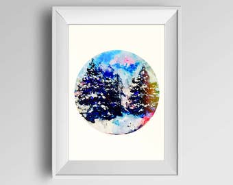 Watercolor , winter wonder forest ARTPRINT