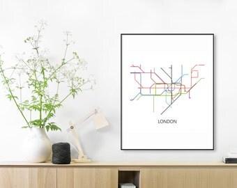 London Subway Map Print,London Metro Map Poster,London Underground,London Tube Map,Transit Map,London Art,London Map Art,Subway Map SUBWAY