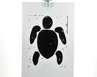 "Modern Turtle - Hand Pulled Linoleum Block Print 4""x6"""