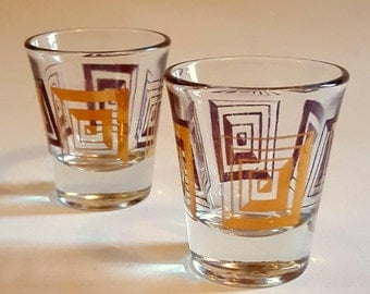 Vintage ANCHOR HOCKING shot glasses, Mad Men era shot glasses, set of two