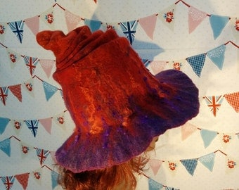 Red and Purple Wet Felted Covert Witch Hat