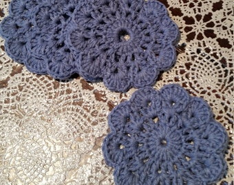 Blue Crochet Coasters