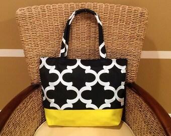 Black & white print, yellow canvas tote bag, handbag, market bag, shopping bag, shoulder bag, purse