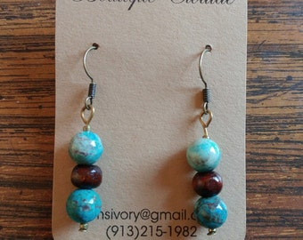 Turquoise Glass and Wood Mixed Media Earring