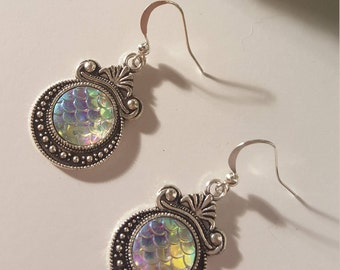 Iridescent Dangle Mermaid Scale Earrings - Round