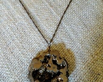 Pryrite Druzy Geode Minimalist Necklace