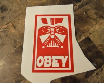 "Dart Vader ""OBEY"" Star Wars Style Vinyl Decal"