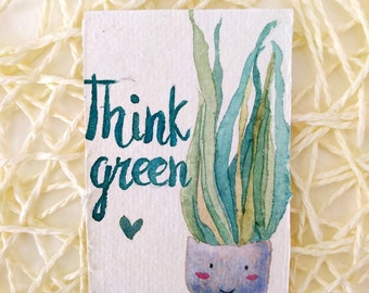 ACEO, Art Card Editions and Originals, indoor plant, succulent plants, miniature, trading card, illustration, watercolor painting