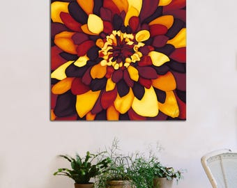 Original digital painting on canvas - flower colors of autumn - Limited Edition