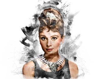 Audrey Hepburn, Colorized Breakfast at Tiffany's Poster Print Wall Art