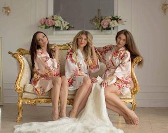 Set of 1,2,3,4,5,6,7,8 Robes- Bridesmaid Gift- Bridesmaid  Satin Robe- Bridesmaids Kimono Robes- Regular and Plus Size Robes- Floral Robes