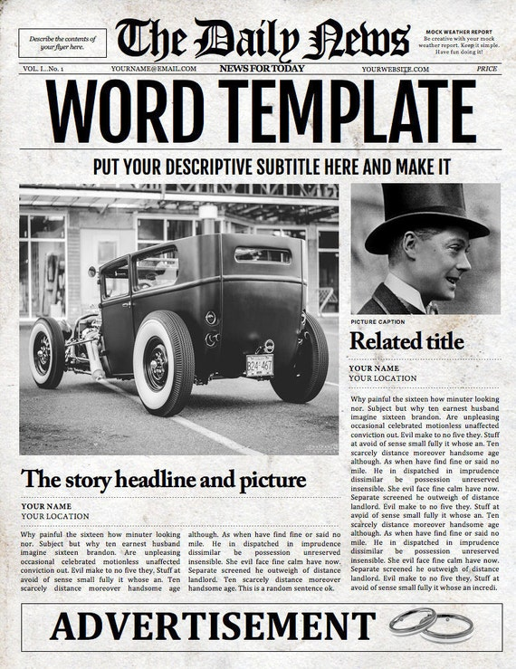 old fashioned newspaper template for microsoft word - Romeo.landinez.co