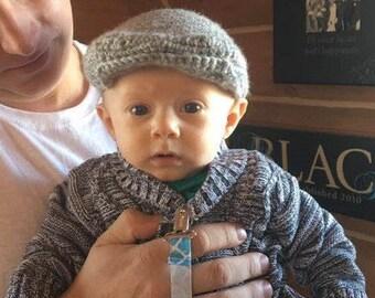 Crochet Newborn Scally Cap, Newsboy Hat, Driver's Cap, Irish Cap, Gray, Made to Order, Newborn Photo Prop