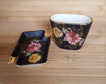 Vintage pottery, Bavarian pottery, Match holder, ashtray, smoking set,  tobacciana, hand painted flowers, German ceramics. matchstick holder