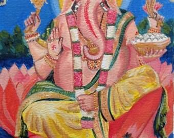 Acrylic painting of Ganesh