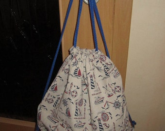 Gym bags backpack maritimes patterns handmade unique new fed