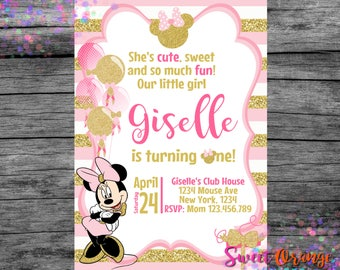 Pink and Gold Minnie Mouse Invitation, Minnie Invitation, Pink invitation, Gold Invitation, Minnie Gold, Glitter Invitation, Minnie001