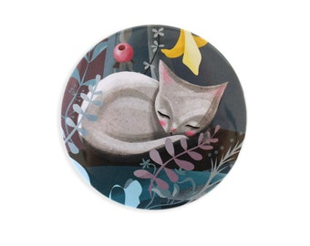 Cat sleeping pocket mirror - magic flowers animals mirrors cute kawaii cat stocking filler crazy cat lady fairytale