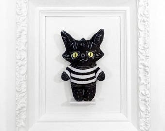 Illustrated black cat doll printed on soft minky fabric - Trouble Cat Alex in a Sweater
