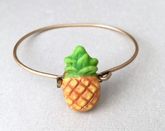 Pineapple Bangle Bracelet - polymer clay miniature food jewelry